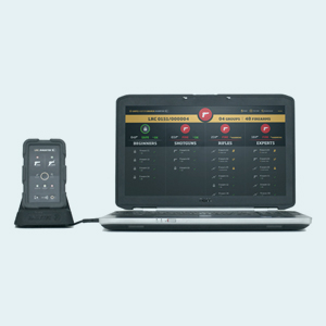 The system of the safe shooting range in a laptop. In the left size is the remote control.