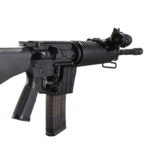 A AR15 rifle with the Digital Counter from Radetec