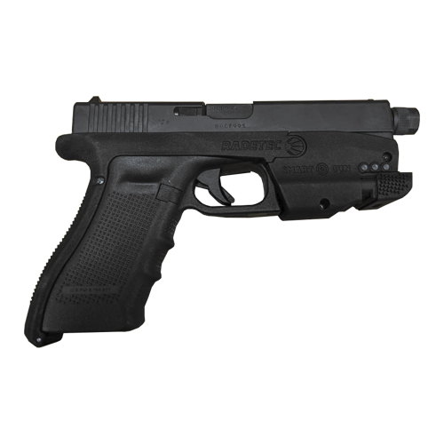 A Glock with the Smart Gun with front prespective.