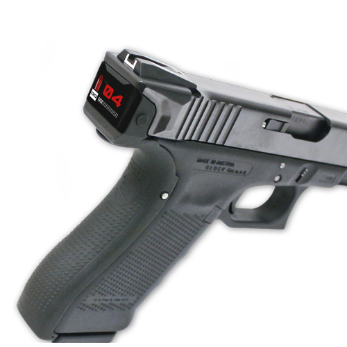 A Smart Slide in a Glock. The screen is with the smart slide mode (4 bullets in the magazine & a bullet in the chamber)