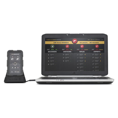 A remote control for the safe shooting range and a laptop with SSR APP